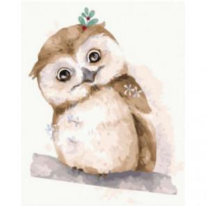 Зимняя сова Раскраска картина по номерам на холсте