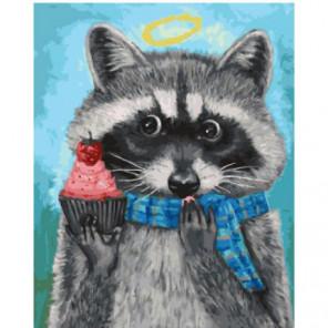 Енот в шарфике Раскраска картина по номерам на холсте