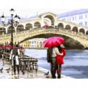 Влюбленные у моста в Венеции Раскраска картина по номерам на холсте