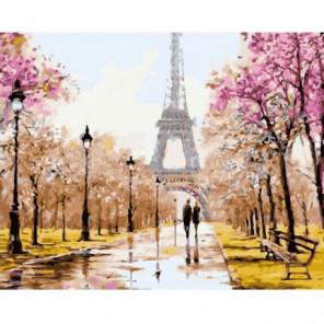 Весенняя аллея в Париже Раскраска картина по номерам на холсте