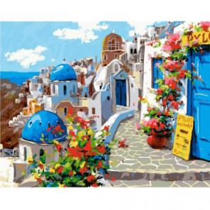 Голубые крыши Санторини Раскраска картина по номерам на холсте