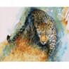 Акварельный крадущийся леопард Раскраска картина по номерам на холсте