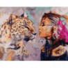 Девушка и леопард Раскраска картина по номерам на холсте
