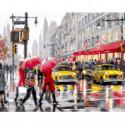 Желтые такси и красные зонтики Раскраска картина по номерам на холсте