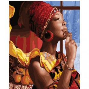 Африканская дама Раскраска картина по номерам на холсте