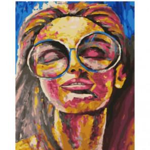Девушка с очках Раскраска картина по номерам на холсте
