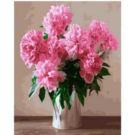 Розовые цветы в белой вазе Раскраска картина по номерам на ...