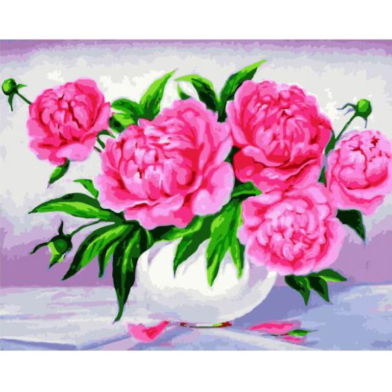 Яркие цветы в белоснежной вазе Раскраска картина по ...
