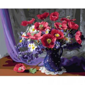 Синяя ваза в горошек Раскраска картина по номерам на холсте