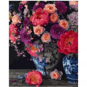 Садовый букет в вазе Раскраска картина по номерам на холсте
