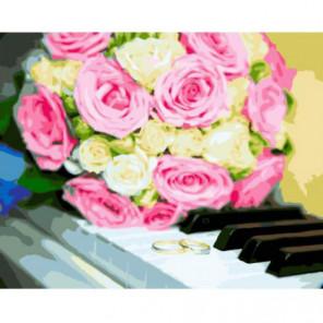 Розы на клавишах Раскраска картина по номерам на холсте