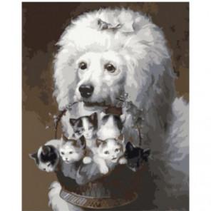 Пудель с корзинкой котят Раскраска картина по номерам на холсте