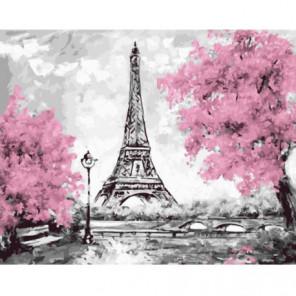 Розовый Париж Раскраска картина по номерам на холсте