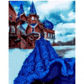 Синее платье на морозе Раскраска картина по номерам на холсте