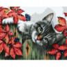 Кот в траве Раскраска картина по номерам на холсте