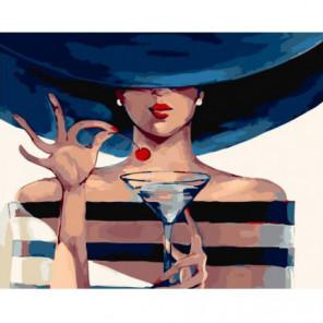 Мартини с вишенкой Раскраска картина по номерам на холсте