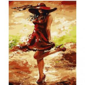 Кокетка в шляпке Раскраска картина по номерам на холсте