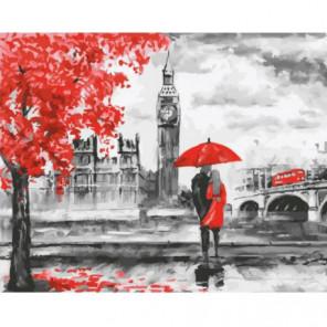 Красный Лондон. Пара под зонтом Раскраска картина по номерам на холсте
