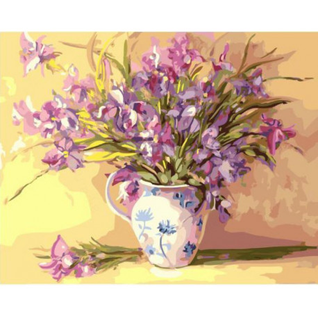 Легкие цветы в вазе Раскраска картина по номерам на холсте ...