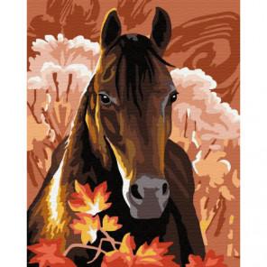 Гнедая лошадка Раскраска картина по номерам на холсте
