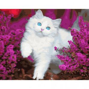 Белый котенок в цветах Раскраска картина по номерам на холсте