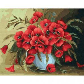 Белая ваза с маками Раскраска картина по номерам на холсте