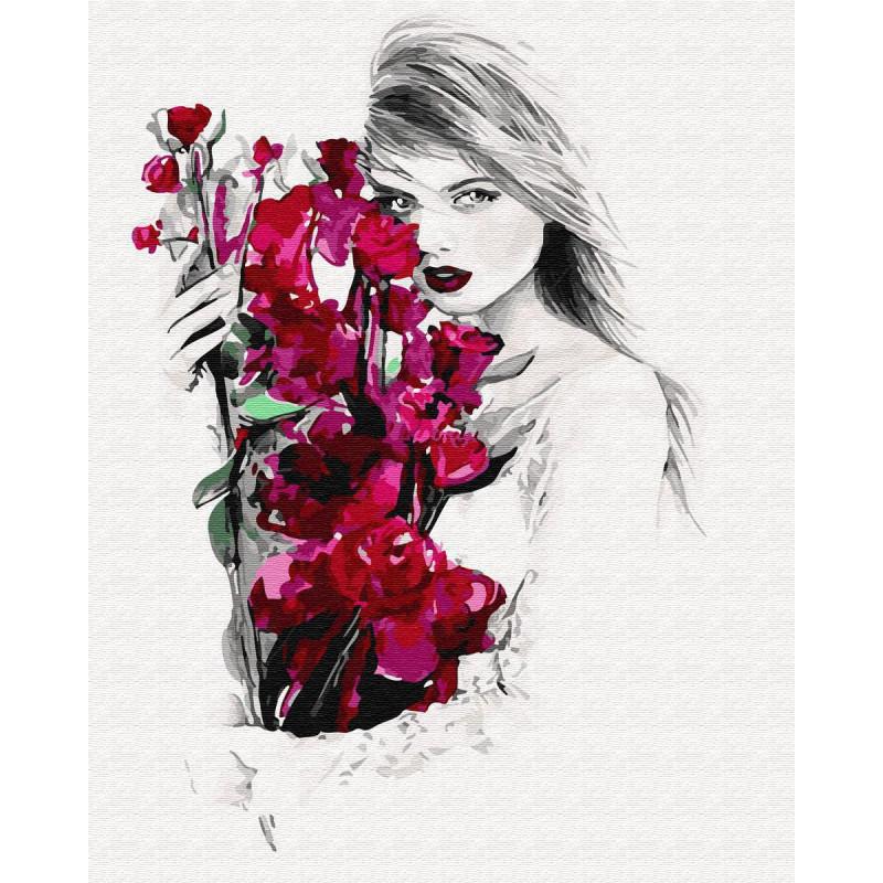 Девушка с красными цветами Раскраска картина по номерам на ...