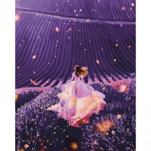 Девушка в лавандовом поле Раскраска картина по номерам на холсте