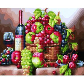 Натюрморт с фруктами и вином Алмазная картина-раскраска по номерам на подрамнике GZS1110