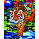 Тигр в осенней листве Алмазная картина-раскраска по номерам на подрамнике GZS1098