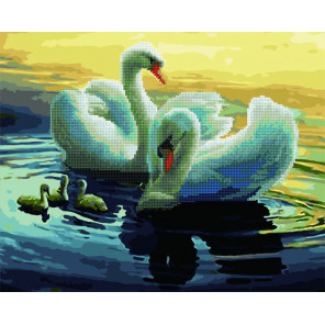 Лебеди Алмазная картина-раскраска по номерам на подрамнике GZS1096