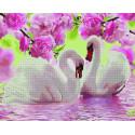 Лебеди под цветущими ветвями Алмазная картина-раскраска по номерам на подрамнике GZS1058
