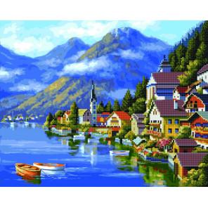 Причал в горах Алмазная картина-раскраска по номерам на подрамнике GZS1039