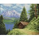 Домик в горах Алмазная вышивка мозаика АЖ-1805