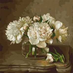 Бузин. Белые пионы на столике Раскраска картина по номерам на холсте KH0424