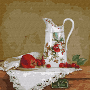 Бузин. Натюрморт с белым кувшином Раскраска картина по номерам на холсте KH0431