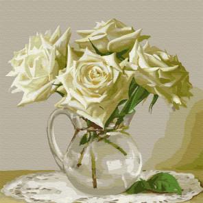 Бузин. Пять белых роз Раскраска картина по номерам на холсте KH0432