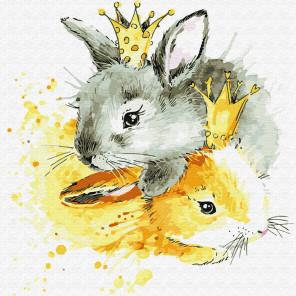 Королевские зайцы Раскраска картина по номерам на холсте KH0433
