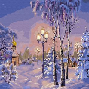 Зимний вечер Раскраска картина по номерам на холсте KH0440