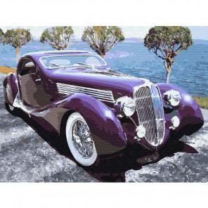 Ретро автомобиль Картина по номерам на холсте с цветной схемой KK0046