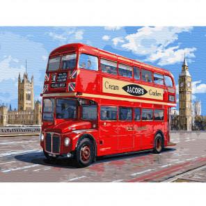 Автобус Лондона Картина по номерам на холсте с цветной схемой KK0051