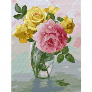 Бузин. Пионы и розы Картина по номерам на холсте с цветной схемой KK0061