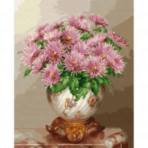 Бузин. Розовые астры Раскраска картина по номерам на холсте KH0412
