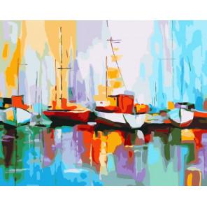 Цветные лодки в порту Раскраска картина по номерам на холсте CG474