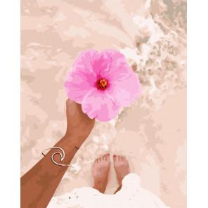 Пляжные цветы Раскраска картина по номерам на холсте PK51054