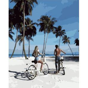 Прогулка по пляжу на велосипедах Раскраска картина по номерам на холсте PK51031