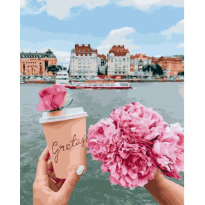 Кофе и пионы Раскраска картина по номерам на холсте PK51029