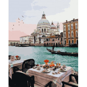 Завтрак у венецианского канала Раскраска картина по номерам на холсте PK51024