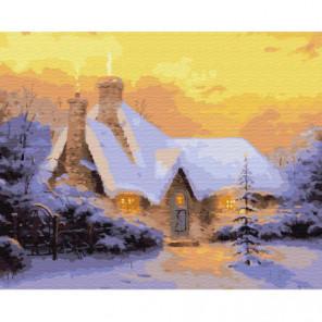 Заснеженный дом Раскраска картина по номерам на холсте