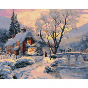Зимний пейзаж с домом Раскраска картина по номерам на холсте